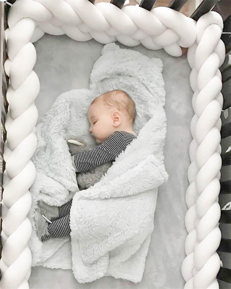 Длина 300 см, детская кроватка, бампер, завязанная узлом, заплетенная плюшевая детская колыбель, Декор, подарок для новорожденных, подушка, детская кровать, спальный бампер - Цвет: white 4 ropes