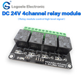 4 channel DC5V/12V/24v relay module relay expansion board control board with optocoupler isolation high / low level