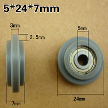 цена на  M5x24x7mm 625zz pack plastic Bearings Screw Pulley U groove durable nylon wheel POM 626ZZ without shaft