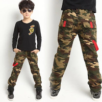 new 2017 Spring Autumn Boy Camo Amy green casual Pants Sport pants High quality Cotton trouser Children Boy clothing