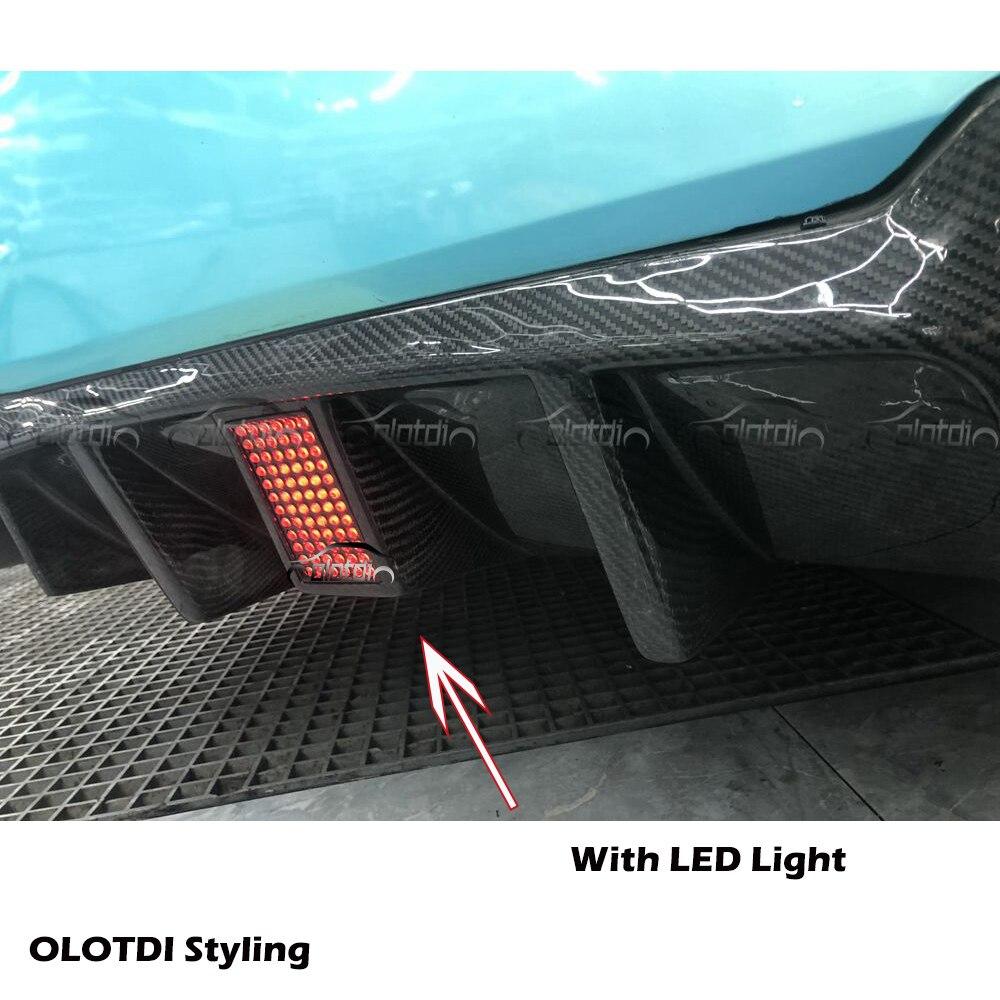 V стиль, настоящий автомобильный диффузор из углеродного волокна, задняя губка для BMW F10 M5, задний бампер, спойлер, фартук для автомобиля, стильный светодиодный светильник - 2