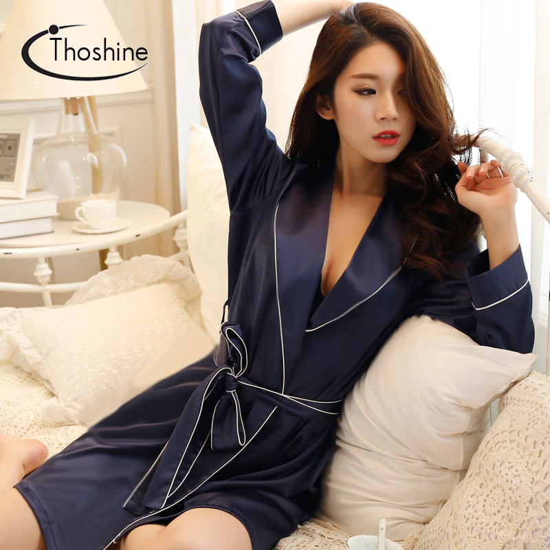 Image 5 - Thoshine 2019 Spring Summer Autumn Women Chinese Silk Satin Robes Female Superior Bath Robes Lady Nightshirt Girl Home Sleepwear-in Robes from Underwear & Sleepwears