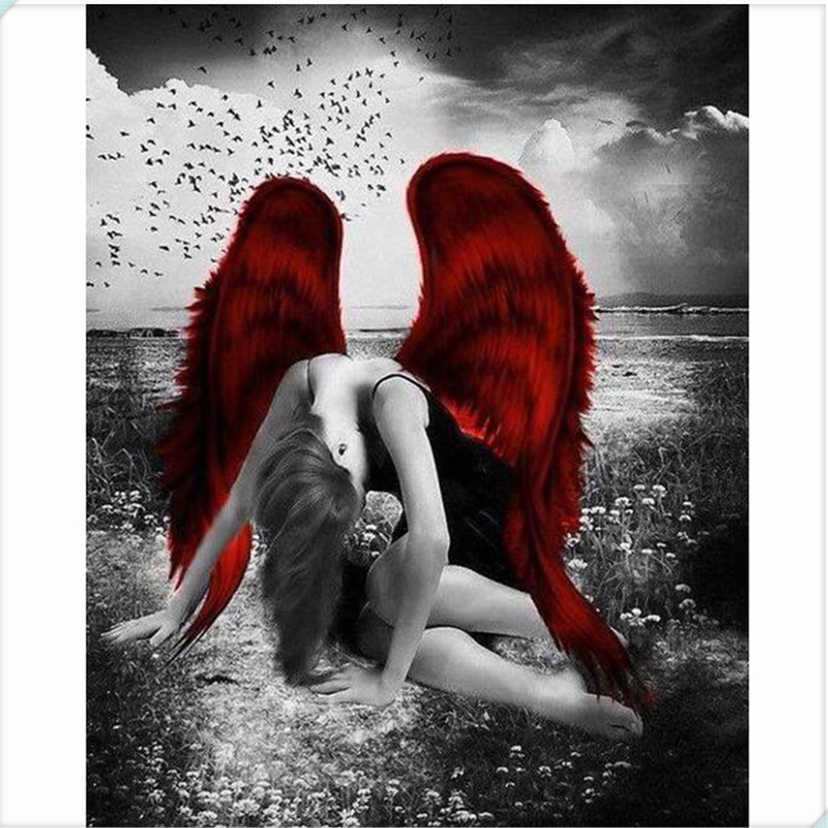 Hot sale Red wing fallen angel 5D Diamond Painting Cross Stitch Full Diamond Painting Home Decor DIY Diamond Embroidery NEW020