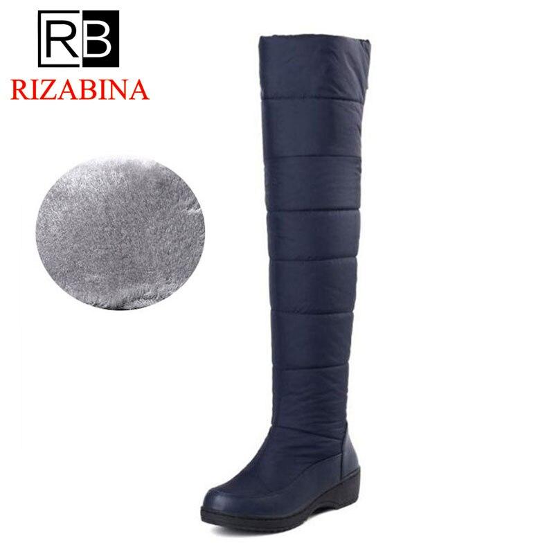 Cremallera Con Negro 35 azul Planas Zapatos Para Mujer Conciso De Muslo Piel Botas Punta Y Cálidos Talla Invierno Redonda Felpa 44 RZYH6cxw