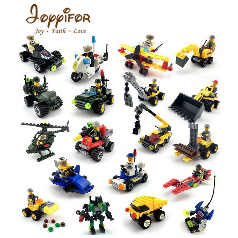 Joyyifor 8 kinds Helicopter robot Tank Soldier excavator Building Blocks Toys legoingly Children Toys 196pcs building blocks urban engineering team excavator modeling design