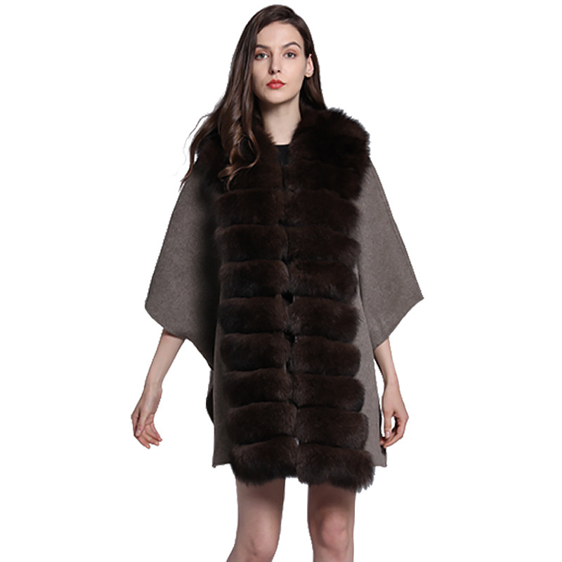 Luxe mariage véritable laine châles renard fourrure avant automne hiver femmes fourrure étole Pashmina enveloppes LF5114