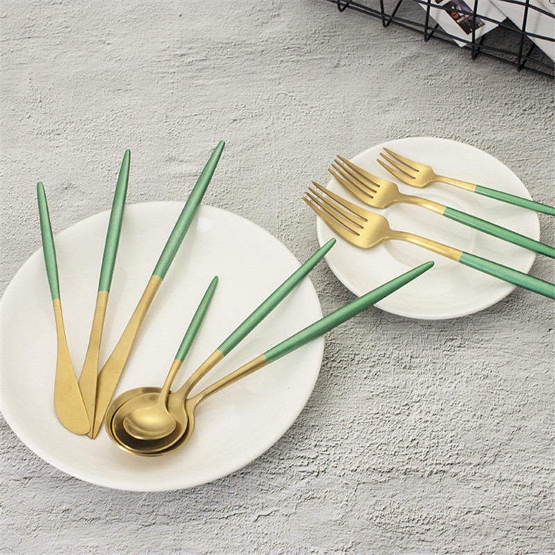 24pcs set European Titanium Gold Green Stainless Steel Cutlery Set Flatware Set Dinner Knife Fork Spoon
