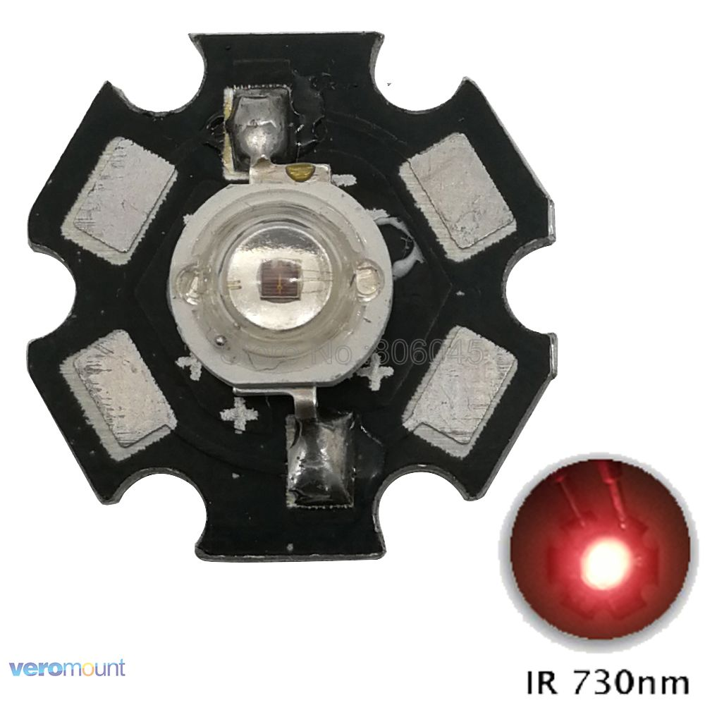 10pcs 3W Infrared IR <font><b>730NM</b></font> - 740NM High Power LED Light Bead Emitter DC1.6-1.8V 350-700mA with 20mm Aluminum Base image