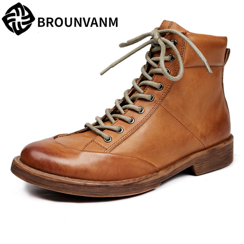 2017 new Autumn and winter men's casual shoes, men boots, retro British Martin boots, leather shoes 2017 new autumn winter british retro zipper leather shoes breathable sneaker fashion boots men casual shoes handmade