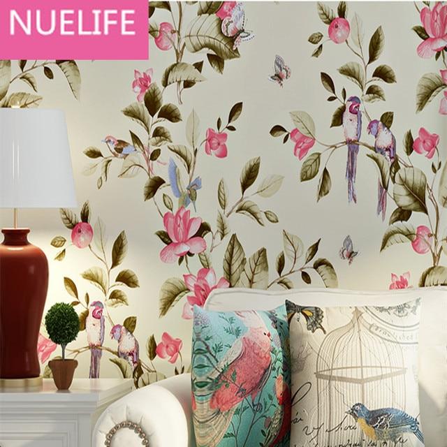 0,53x10 Meter American Style Retro Baum Blume Vogel Vliesstoffe Tapete  Schlafzimmer Wohnzimmer Hochzeit Kinderzimmer
