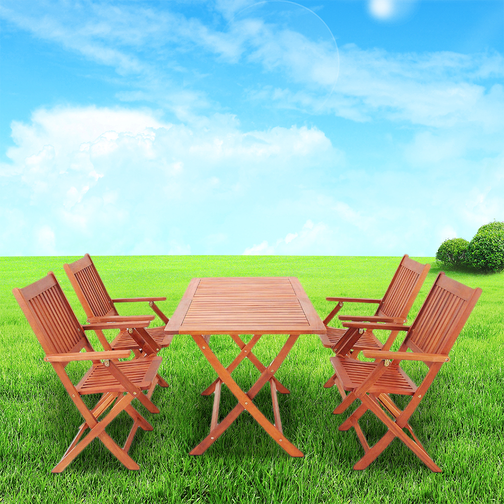 Sydney Garden Set 1 Table 4 Chair Outdoor Eco Acacia Wood Furniture HOT SALE kingcamp delux table chair set