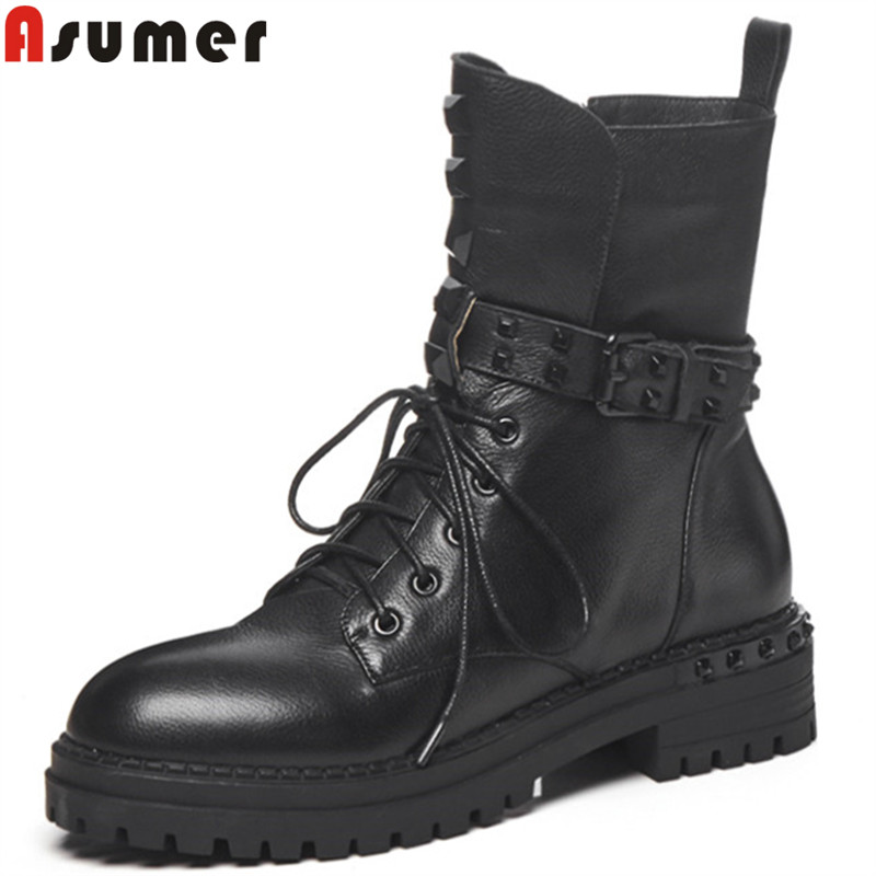ASUMER 2018 fashion hot sale new ankle boots for women lace up genuine leather boots med heels ladies  boots rivet ASUMER 2018 fashion hot sale new ankle boots for women lace up genuine leather boots med heels ladies  boots rivet