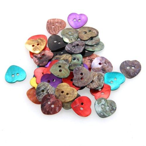NOCM Hot 50 x 15 mm Pearl Mussels Heart Buttons TOP