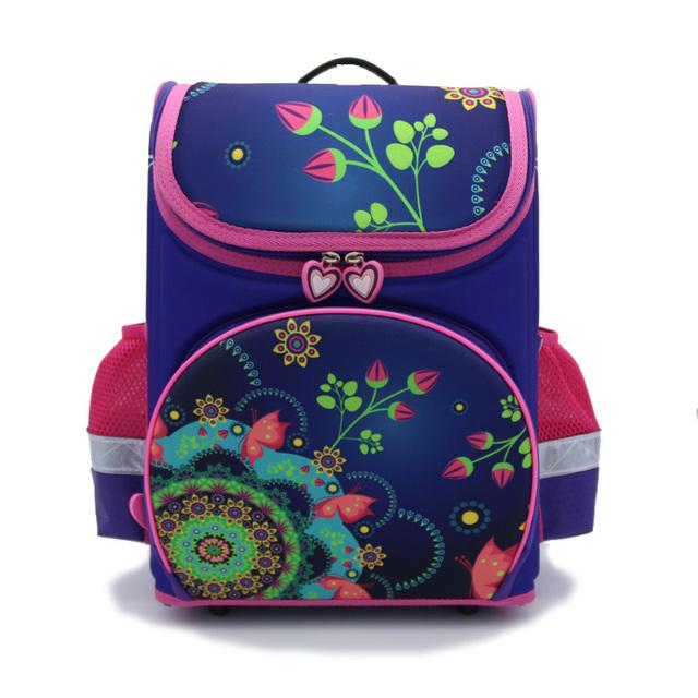2016 Nuevo diseño Ortopédicos Niños Impermeables Mariposa púrpura Mochilas escolares Niñas de La Escuela Primaria 1-4 Grado de impresión Mochila Flor