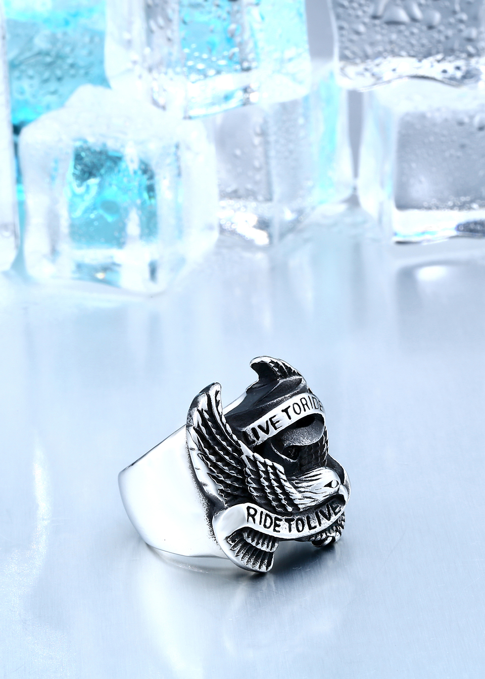 Stainless Steel Eagle Ring In Black And Silver 2