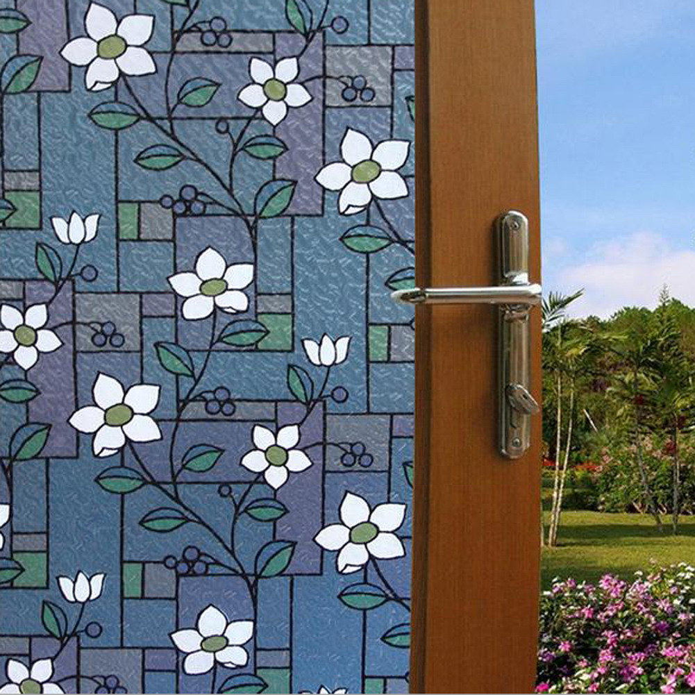 Opaque Flower Stained Glass Window Film Colorful Flower Glass Stickers  Decorative Bathroom Sliding Door(China