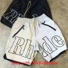 19ss Rhude X pantalones cortos patrón hombres mujeres Streetwear gris con 3 M pantalones cortos reflectantes Hip Hop playa ropa deportiva Rhude X patrón de pantalones cortos
