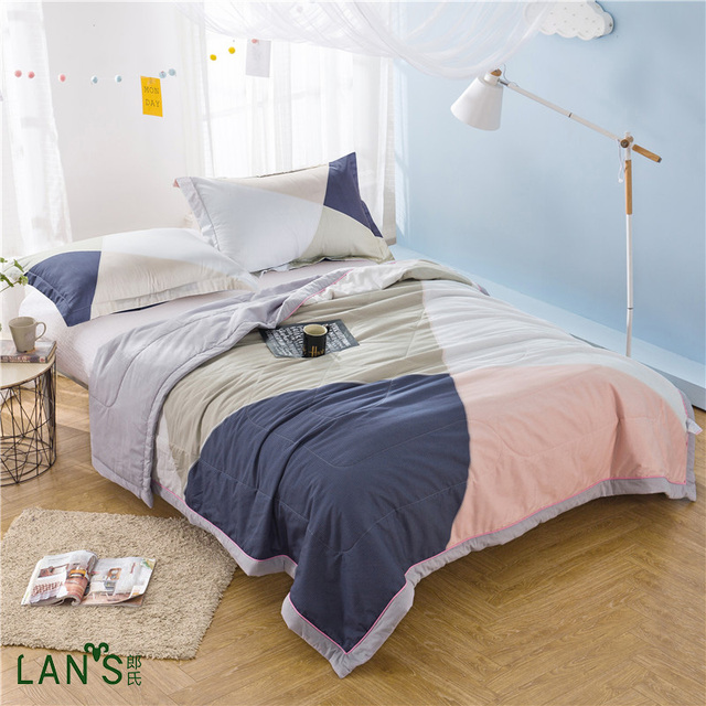 2017 Causal Simple Printed Summer Quilts 100 Washable Cotton Duvets Thin Blankets With Pillowcase Bedspreads