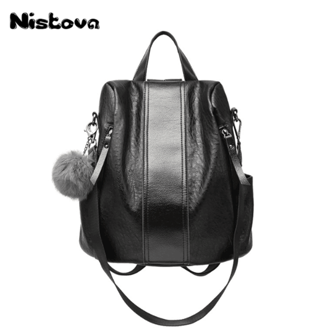 e8df223dfbd Ladies New Design Vintage Classic Backpack Personality Generous Soft  Leather Youth Backpack Large Capacity Travel Bag