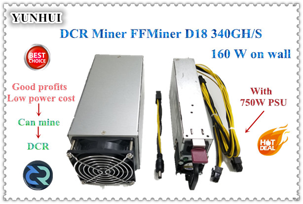 DCR Miner FFMiner D18 340GH/S 160W Mini And Low Noise Cost-effectiveness Is Higher Than Innosilicon D9 For DCR 56DB ( With PSU )