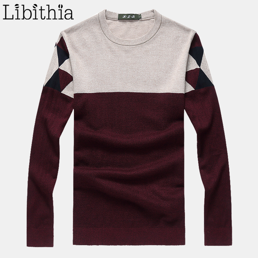 Casual Sweater Men Big Size M-8XL Geometric Pullover O-Neck Homme Long  Sleeve Sueter Wool Tencel Autumn Winter Spring Red K10 648d09f23893