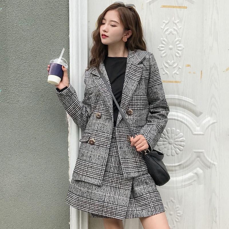 2017 Korean Autumn Winter Ladies Plaid Wool Skirts Suits 2 Piece Set Women Double breasted Blazer Coat + A line Mini Skirt 3XL