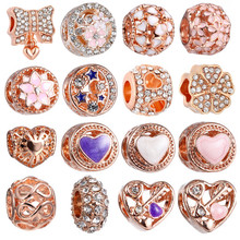 1PC Rose Gold European Charms Beads Fits Brand Bracelet Jewelry Making Tibetan Silver Crystal Spacer Beads Accessories(China)