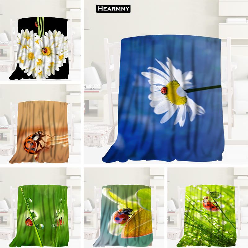Custom Ladybugs Green Grass Blanket Manta Flannel Blanket Sofa/Bed/Plane Travel Bedding 80X150cm.100X125cm,125X150cm