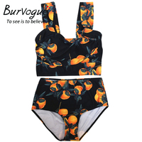 Burvogue Sexy High Waist Bikini Printed Women Push Up Swimsuit Two Pieces Bathing Suits Summer Female