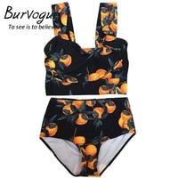 Burvogue Sexy High Waist Bikini Printed Women Push Up Swimsuit Two Pieces Bathing Suits Summer Female