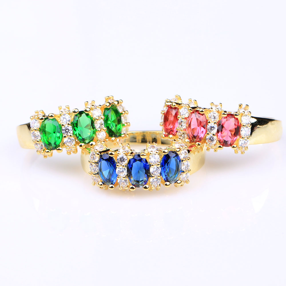 3 color green blue pink stone women wedding ring us 6 7 8 9 10 vintage 2016 gold-color jewelry gift engagement promise ring