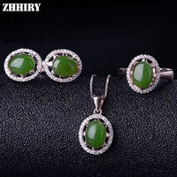 Women Natural Green Jasper Gemstone Jewelry Sets Genuine 925 Sterling Silver Ring Earrings Necklace Pendant ZHHIRY
