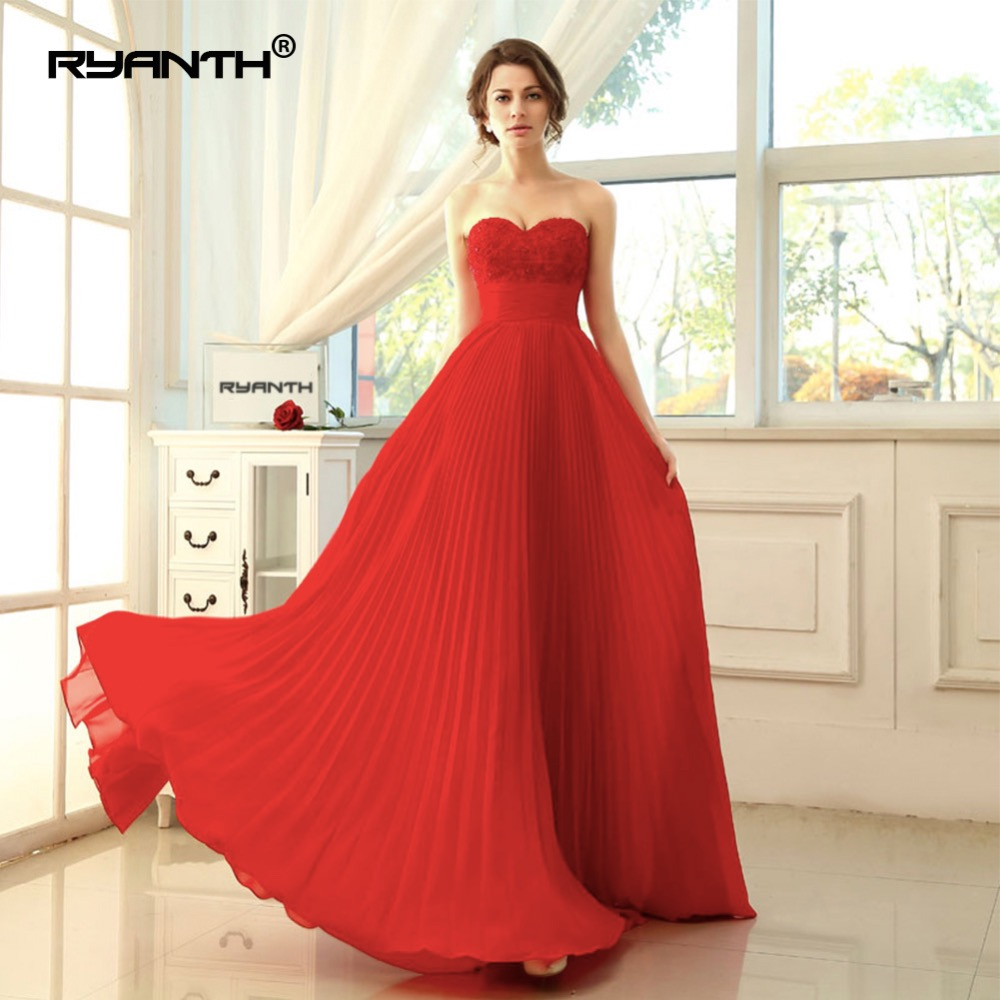 Ryanth Robe De Soiree 2018 Women Red   Evening     Dresses   Long Chiffon Formal   Dress   Party Elegant Sweetheart Simple Prom Gowns