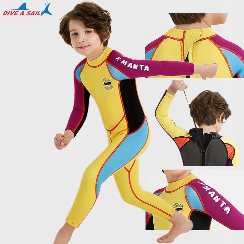 Dive Sail 2.5MM Neoprene Wetsuits Kids full body Thermal protective Diving  Wet suit for Girls Boys 830b4d86c