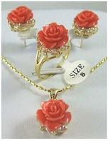Ücretsiz kargo>>> güzel altın plaka gül mercan çiçek Kolye Küpe Yüzük set AAA tarzı 100% Doğal taş Noble Güzel jewe