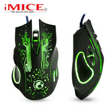 Wired Gaming Mouse Silent Game Mouse Gamer Cable USB 6 Buttons Ergonomic Mice Colorful LED Optical Mause For PC Computer game X9(China)