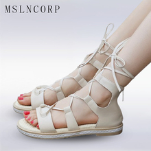 Plus Size 34-43 Women Summer White Sandals Open Toe Gladiator Casual Lace Up Platform Roman Boots