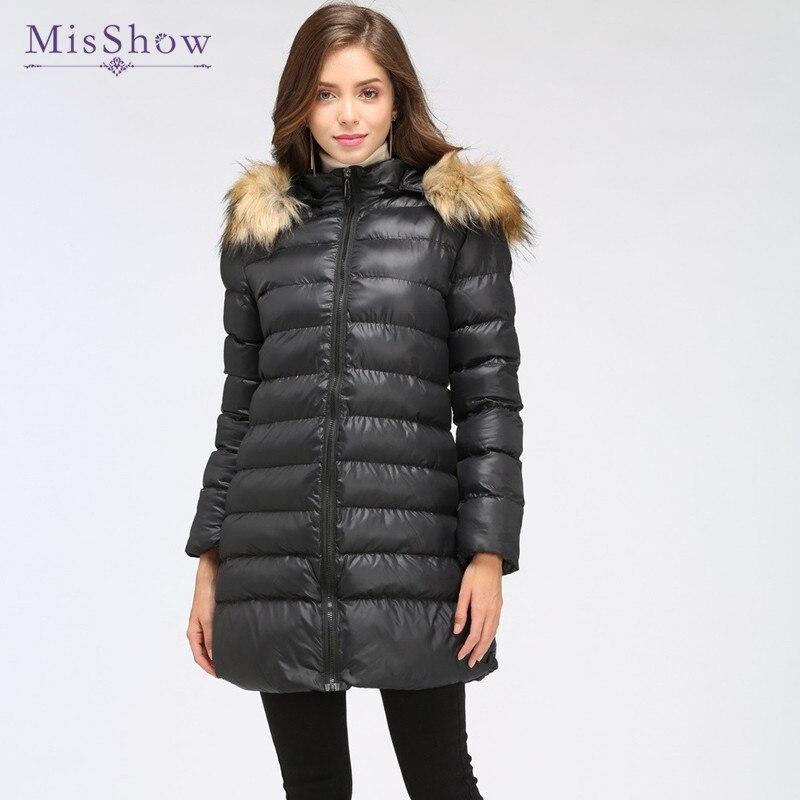 MisShow Fashion Warm Fur Collar Ladies Basic Long Slim Coat Women Cotton   Parkas   Winter Jacket jaqueta feminina inverno