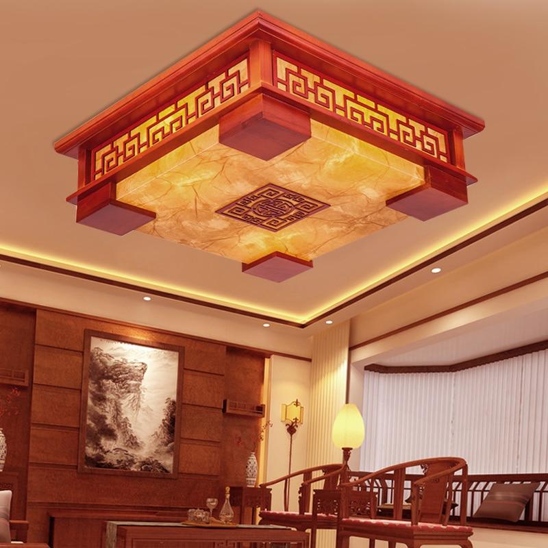Chinesischen Stil Holz Deckenleuchten LED Pendelleuchte Schlafzimmer Wohnzimmer Lichter Schaffell Lampen Beleuchtung RechteckigeChina