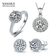 Promoción genuino 925 plata de la joyería CZ del anillo de diamante collar pendientes joyería nupcial Wedding Sets TZ001