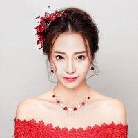 Handgemaakte Rode Bloem Haarspeld Prinses Bruids Haar Clip Bruiloft Haarspeldjes Ornamenten Koreaanse Stijl Prinses Haar Klauw Nieuwe