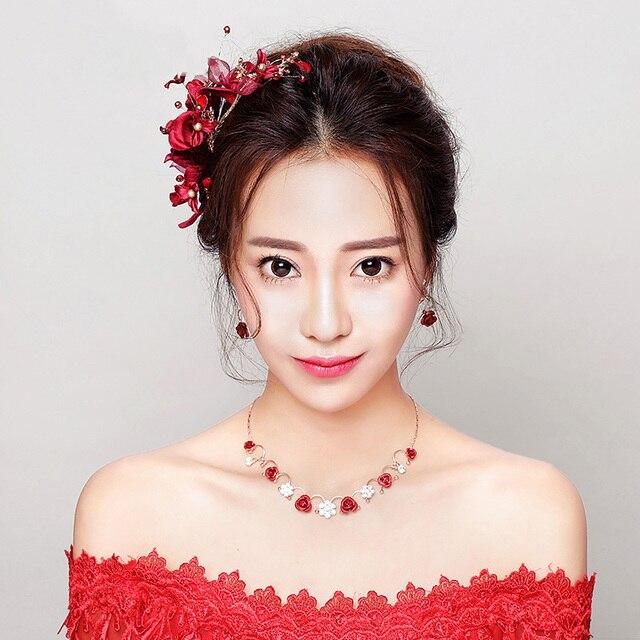 Handmade Red Flower Hairpin Princess Bridal Hair Clip Wedding Party Barrettes Ornaments Korean Style
