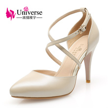 Universe Women Shoes Sexy Cross-tied Genuine Leather Thin Heels C001