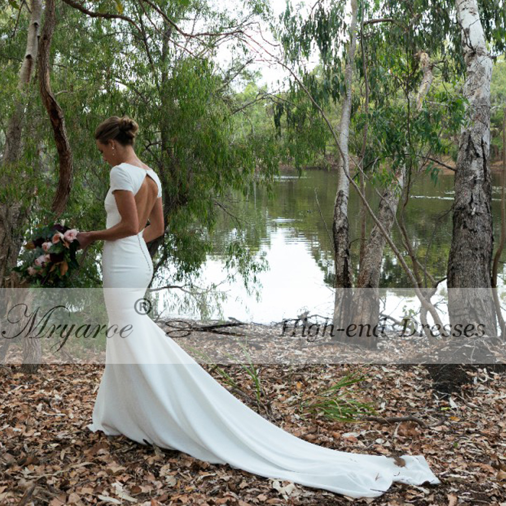Mryarce Simple Elegant Crepe Wedding Dress With Short Sleeves Open Back Mermaid Bridal Gowns