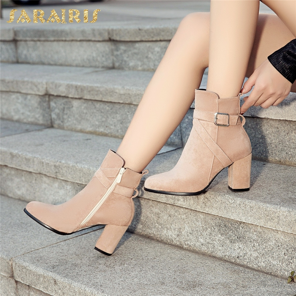 SARAIRIS 2018 Plus Size 33-52 Zip Up Warm Ankle Boots Woman Shoes Chunky High Heels Add Fur Winter Shoes Woman Boots karinluna 2018 plus size 30 50 pointed toe square heels add fur warm winter boots woman shoes woman ankle boots female
