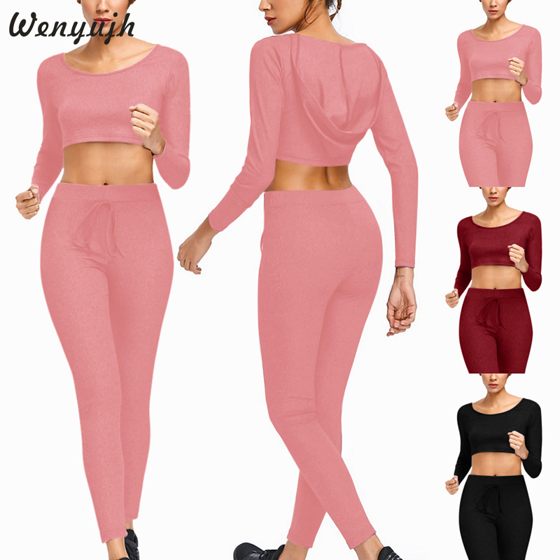Wenyujh 2020 Sexy Navel Pencil Feet Pants Women Yoga Set Tracksuit Gym Jogging Sportswear Running Leggings Sport Fitness Suit