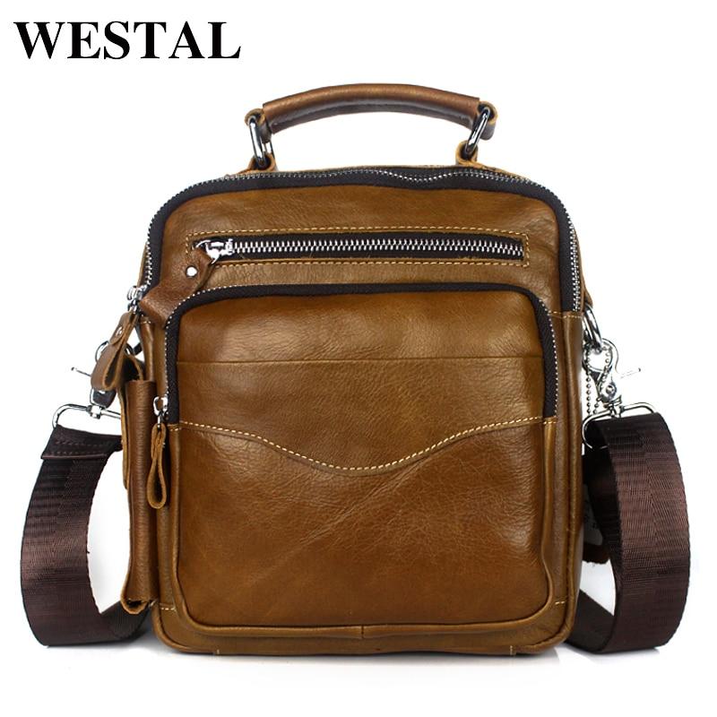 d5fcebad77 WESTAL Messenger Bags Men Genuine Leather Crossbody Bags Shoulder Bag  Zipper Men Vintage Leather Handbags Flap Casual Bag 389 on Aliexpress.com