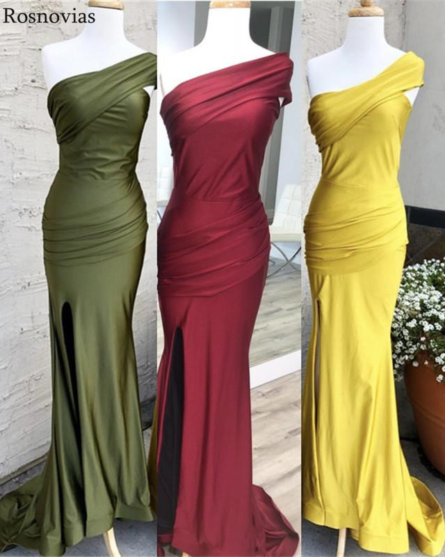 Real Photos   Bridesmaids     Dresses   2019 One Shoulder Side Split Sweep Train Pleats Wedding Guest Gowns Mermaid   Bridesmaids     Dresses