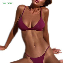 Sexy Swimwear 2017 swimsuit female Bikinis for Women 6 Solid colors Padded bikinis mujer  Bathing Suits