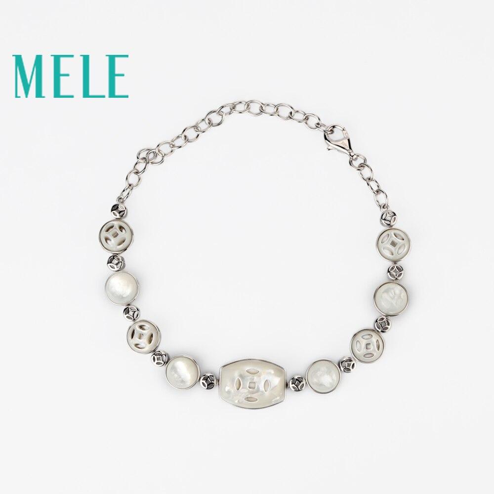 MELE deep sea white shells bracelet 925 sterling silver jewelry for women,best design fashion and simple digital playground stoya s deep sea adventures rabbit